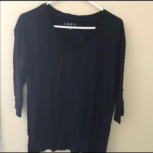 LOFT Drop Shoulder Top Blouse XXS Black